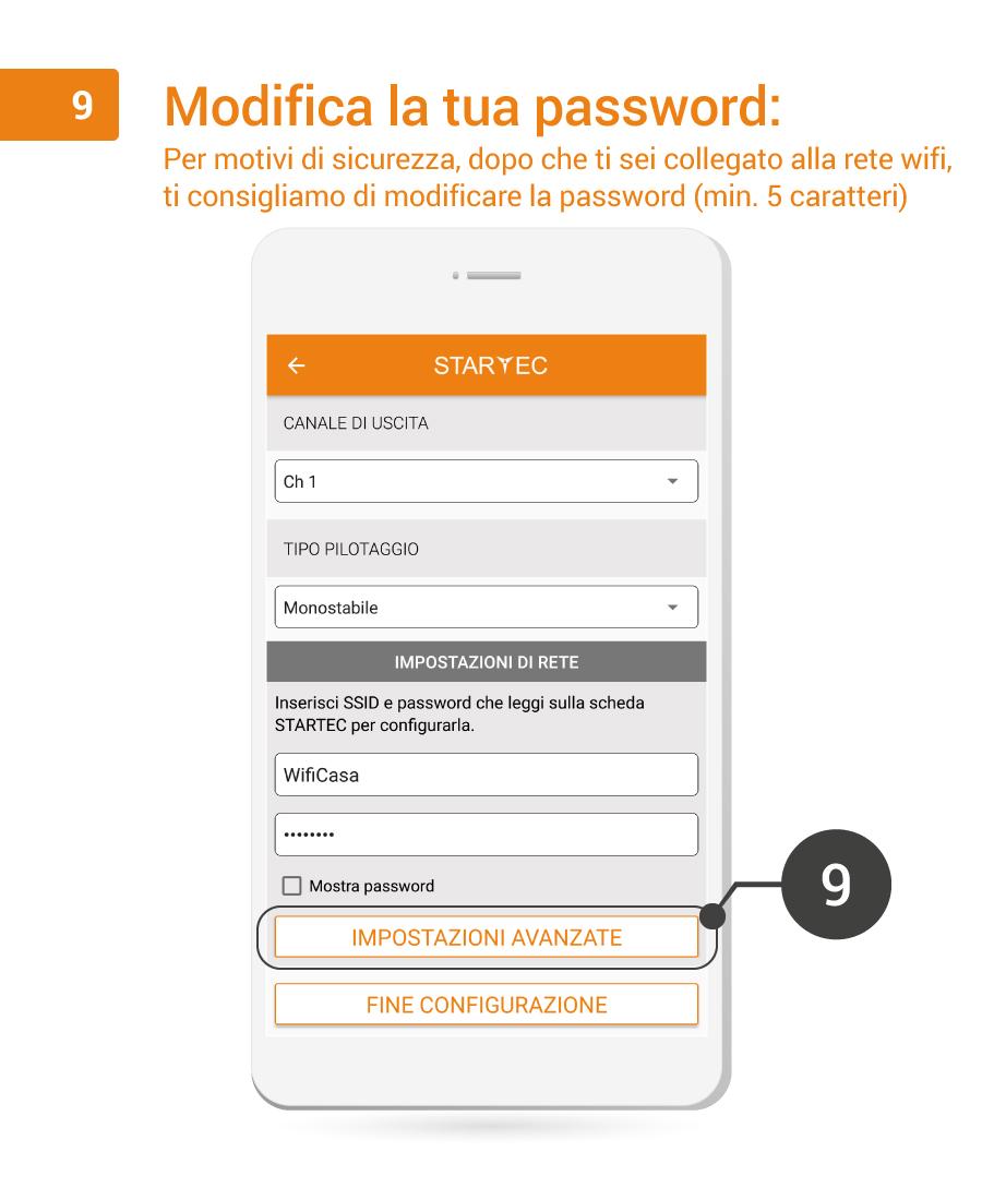 9. Modifica la tua password
