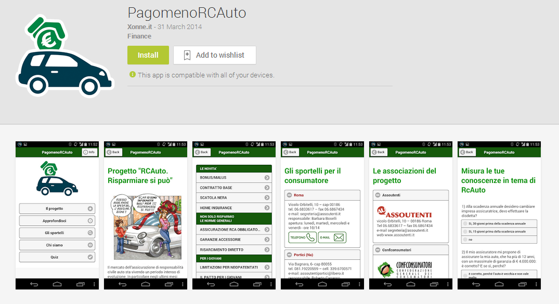 """Pubblicata l'app """"PagomenoRCAuto"""""""